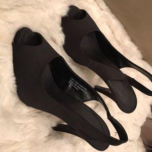 Black poie de soie high heels